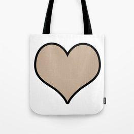 Pantone Hazelnut Heart Shape with Black Border Digital Illustration, Minimal Art Tote Bag