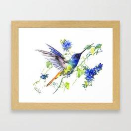 Hummingbird and Deep Blue Flowers, flying bird flowers design birds and flowers Framed Art Print