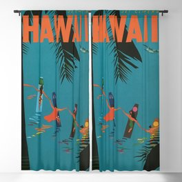 Surfing Hawaii - Jet Clippers to Hawaii Vintage Travel Poster Blackout Curtain