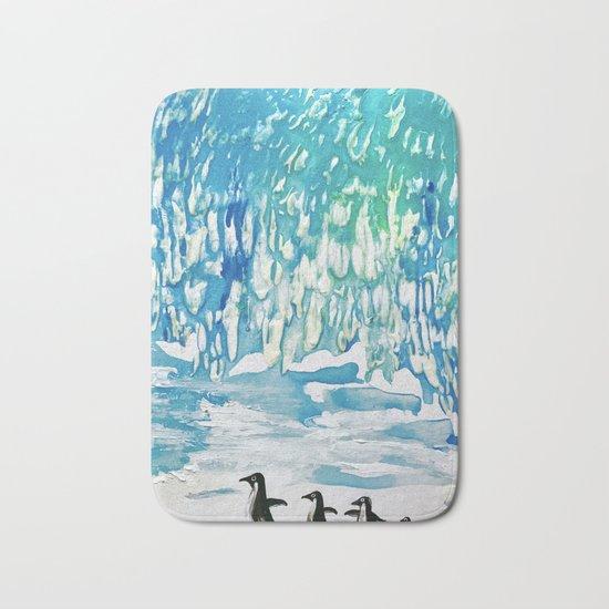 Penguin Family on Thin Ice Bath Mat