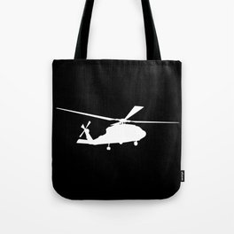 H-60 Military Helicopter Silhouette Tote Bag