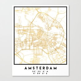 AMSTERDAM NETHERLANDS CITY STREET MAP ART Canvas Print