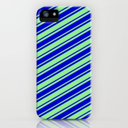 Light Green and Blue Colored Lined Pattern iPhone Case
