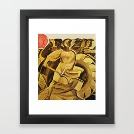 bread for us cccp sssr soviet union political propaganda revolution poster  Framed Art Print