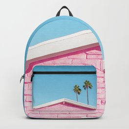 Pink House Roofline with Palm Trees (Palm Springs) Backpack