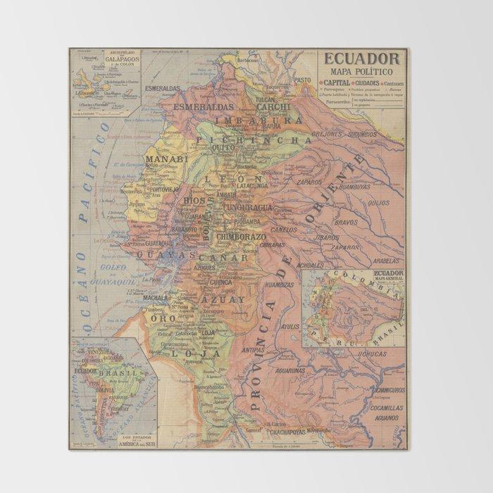 Vintage Map of Ecuador (1913) Throw Blanket by bravuramedia | Society6