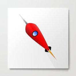 Red Space Rocket Metal Print