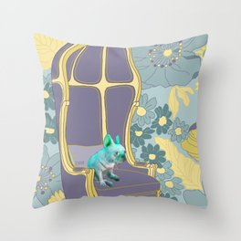 Dog in a chair #4 French Bulldog Throw Pillow