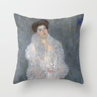 gustav klimt Throw Pillows featuring Portrait of Hermine Gallia by Gustav Klimt by Palazzo Art Gallery