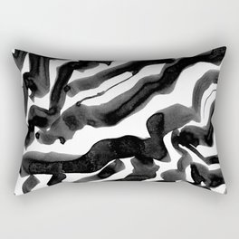 Bold Ink Stripes in Black and White Rectangular Pillow