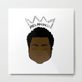Melanin Crown - Boy 2 - white bk Metal Print