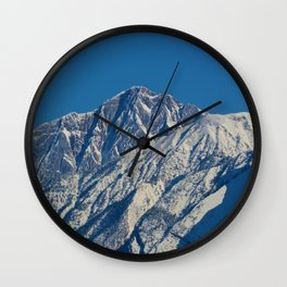 Fresh snow on the mountains of Jasper National Park Wall Clock