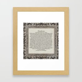Inspirational Typography Wall Art, Gothic Flock Style, Desiderata Poem by Max Ehrmann Framed Art Print