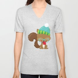 Hipster Squirrel, Squirrel With Glasses, Scarf, Hat Unisex V-Neck