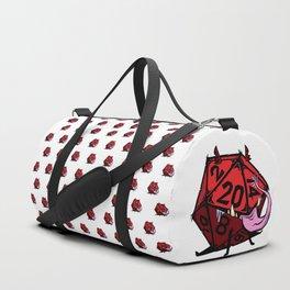 D20 dice mimic pup in red Duffle Bag