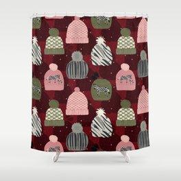 Knitted Zebra Beanie Shower Curtain