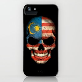 Dark Skull with Flag of Malaysia iPhone Case