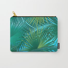 Tropical Palm Tree Leaves Branches on Blue Sky Summer Collection Carry-All Pouch