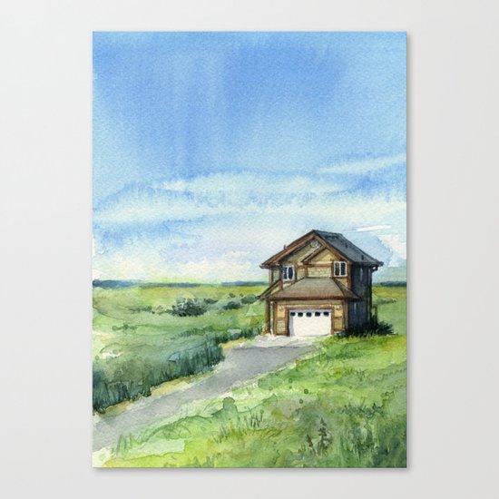 Beach House Landscape Watercolor   Long Beach, WA Canvas Print