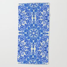 Cobalt Blue & China White Folk Art Pattern Beach Towel