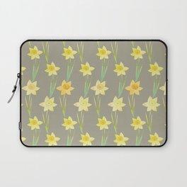 Yellow Watercolour Stemmed Daffodil Pattern Laptop Sleeve