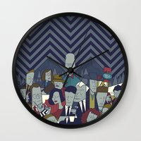 twin peaks Wall Clocks featuring Twin Peaks by Ale Giorgini