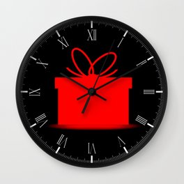 Present In A Red Box Wall Clock