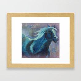 Mystical Horse In Blue Framed Art Print