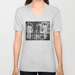 Sailors and Dames - charcoal drawing Unisex V-Neck