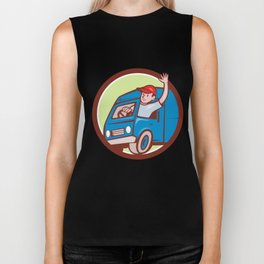 Delivery Man Waving Driving Van Circle Cartoon Biker Tank