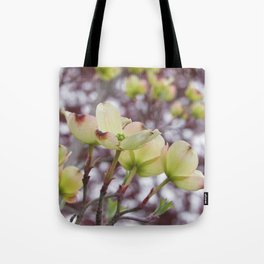 yellow dogwood flowers on black maple bokeh Tote Bag