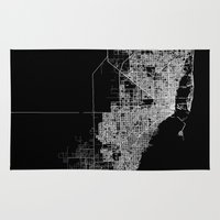 miami Area & Throw Rugs featuring miami map by Line Line Lines