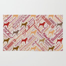 Bloodhound dog Word Art pattern Rug