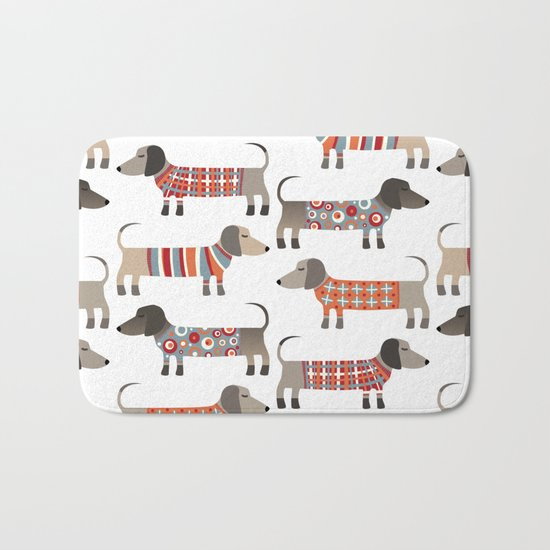 Sausage Dogs in Sweaters Bath Mat