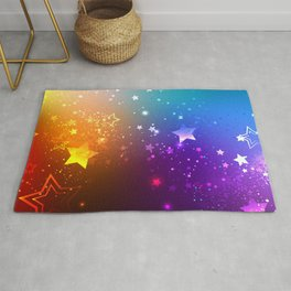 Rainbow Background with Stars Rug