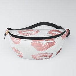 Fashion Lips Rose Gold Lipstick on Marble Fanny Pack