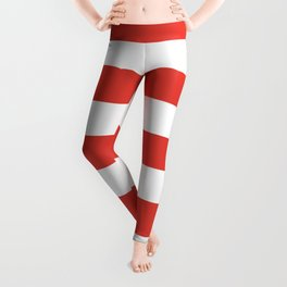 CG red -  solid color - white stripes pattern Leggings