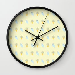 Owl and Olive Plants Pattern, yellow Wall Clock