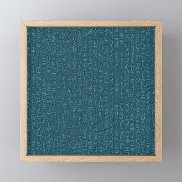 Hieroglyphics Moonstone BLUE / Ancient Egyptian hieroglyphics pattern Framed Mini Art Print
