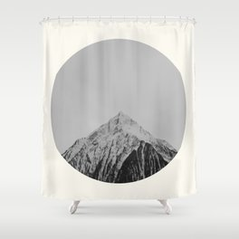Mid Century Modern Round Circle Photo Grey Minimalist Monochrome Snow Mountain Peak Shower Curtain
