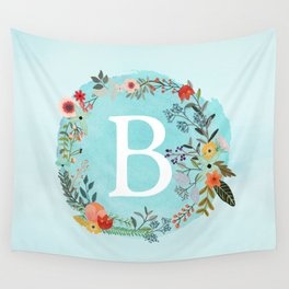 Personalized Monogram Initial Letter B Blue Watercolor Flower Wreath Artwork Wall Tapestry