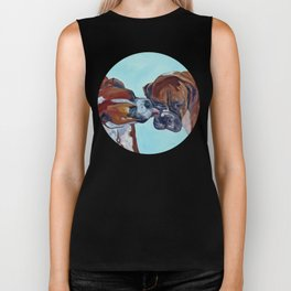 Kissing Boxers Dogs Portrait Biker Tank