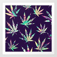 cannabis Art Prints featuring Merry Cannabis by GypsYonic