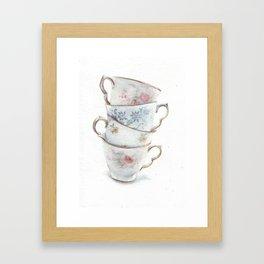 Classic Teacups Stack by Helga McLeod Framed Art Print