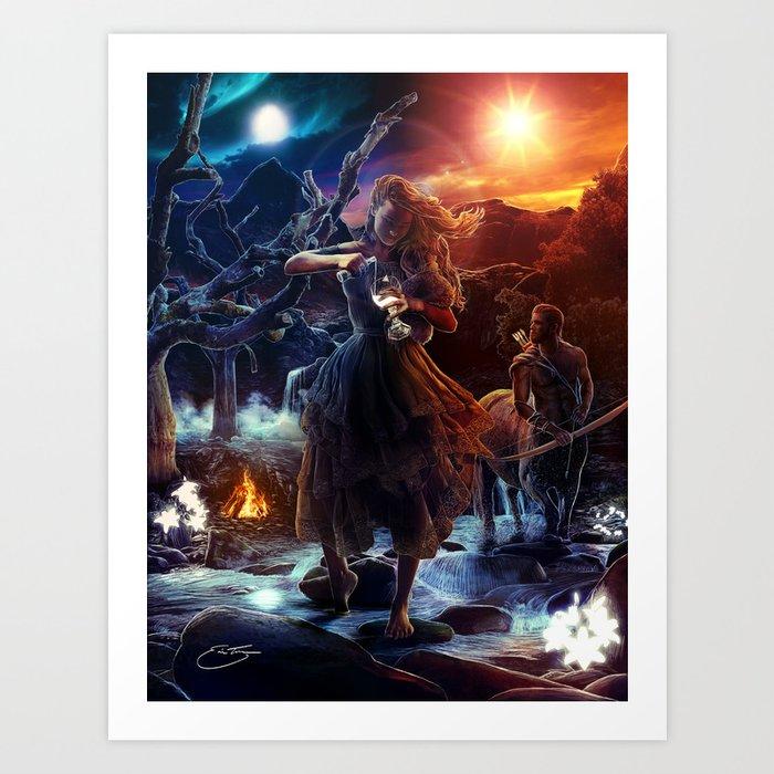 XIV. Temperance Tarot Card Illustration (Color) Art Print
