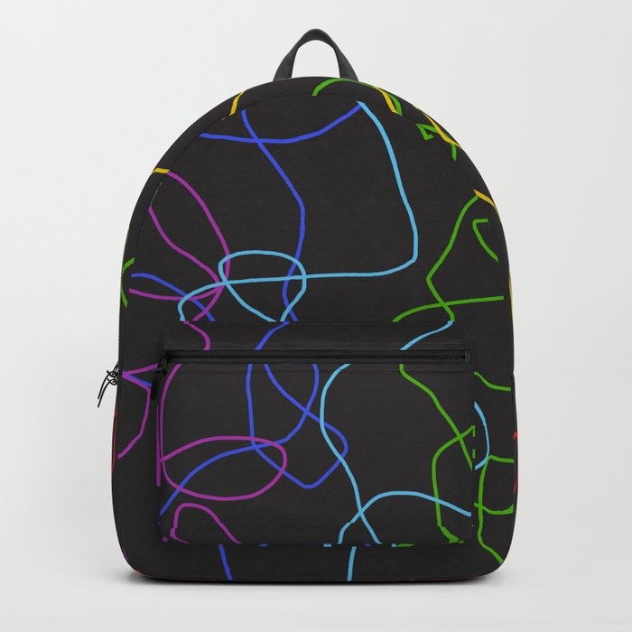 Dark Classic Freehand Abstract Minimal Retro Style Crooked Lines Backpack