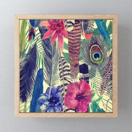 flowers and feathers Framed Mini Art Print