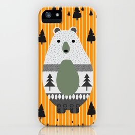 Cute bear, stripes and a fir forest iPhone Case