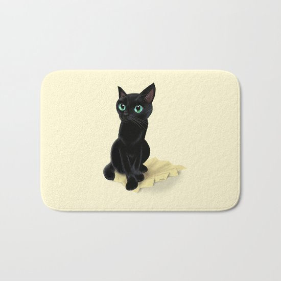 Black little kitty Bath Mat