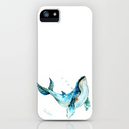 Humpback Whale Artwork Children Illustration Cute little Whale, whale design iPhone Case